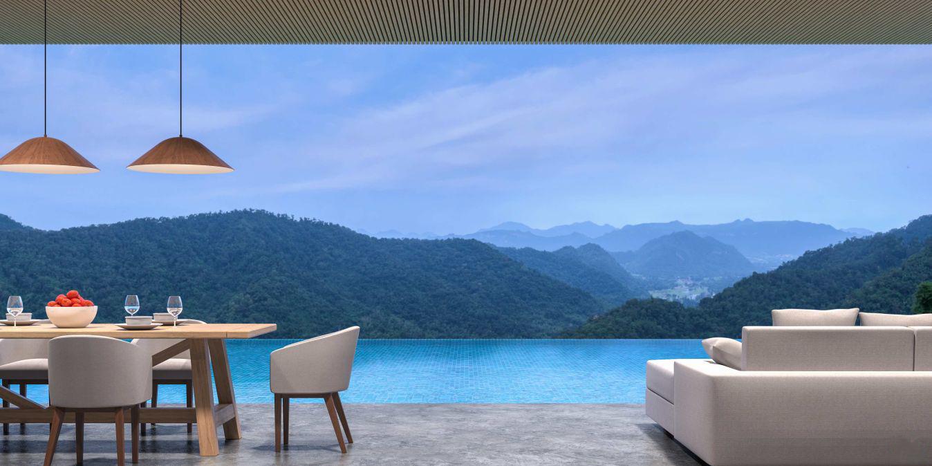 Villa de style loft avec piscine, salon et salle à manger avec vue sur la montagne, vue en 3D, plancher en béton poli, plafond en treillis de bois, vue panoramique sur les montagnes.