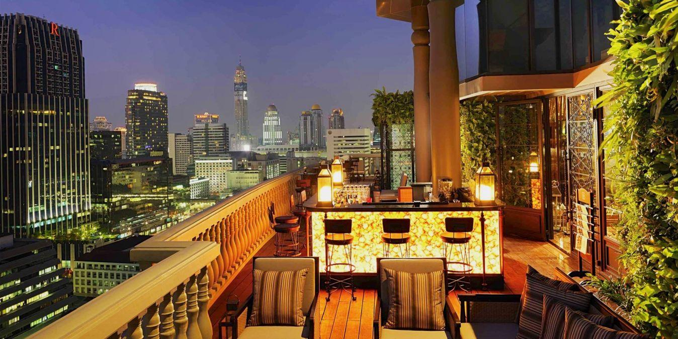 Vue de la terrasse de l'hôtel Muse Bangkok.